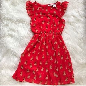 🌿 Adorable rabbit bunny dress red ruffle berry XS